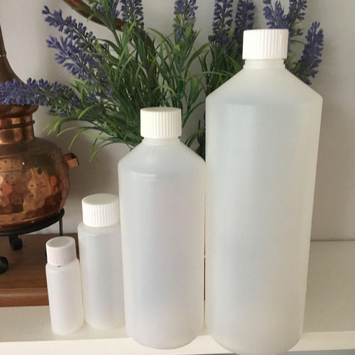 HDPE Bottles in a variety of sizes with white lid